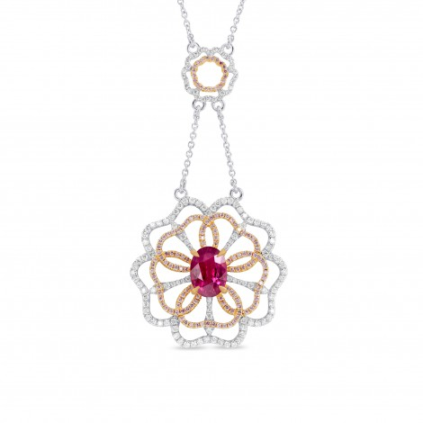 Ruby and Pink Diamond Flower Necklace, SKU 170727 (3.27Ct TW)
