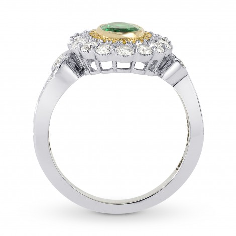 Vivid Green Emerald And Fancy Intense Yellow Diamond Ring