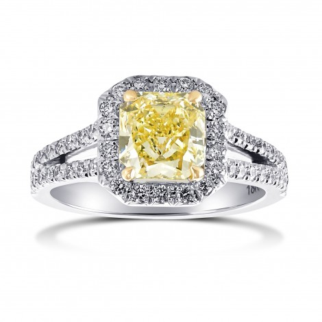 Fancy Yellow Open Pave Split Shank Diamond Halo Ring, ARTIKELNUMMER 171757 (1,43 Karat TW)