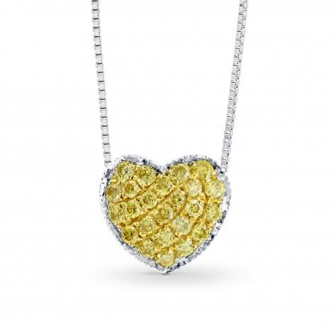 Fancy Intense Yellow Diamond Pave Heart Pendant (0.13Ct TW)