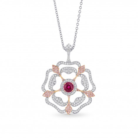 Ruby and Pink Diamond Floral Pendant, SKU 172970 (2.74Ct TW)