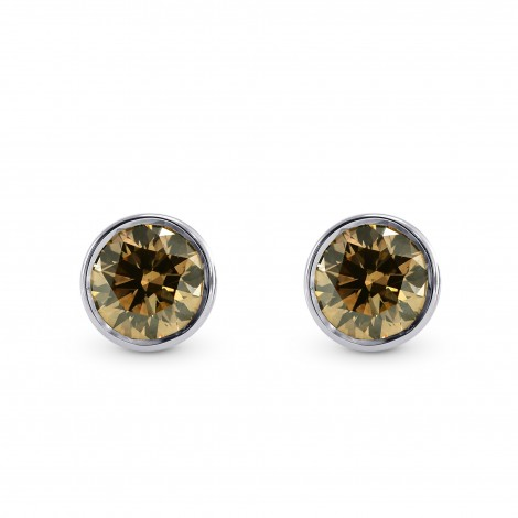 Fancy Deep Orange Brown Diamond Stud Earrings Sku 173111 0 55ct Tw