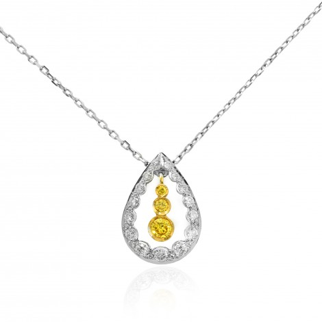 Drop Pendant with Fancy Vivid Yellow and Collection Round Diamonds, ARTIKELNUMMER 17387 (0,35 Karat TW)