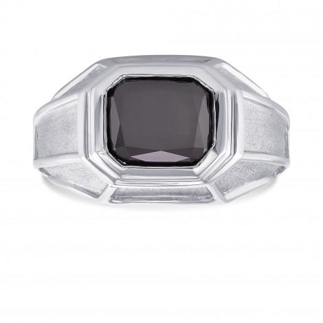 Platinum Fancy Black (Natural unheated) Radiant Diamond Men's Ring, ARTIKELNUMMER 177863 (3,42 Karat)