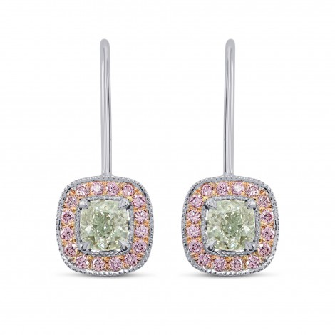Extraordinary Faint Green and Pink Diamond Earrings, SKU 178219 (1.34Ct TW)