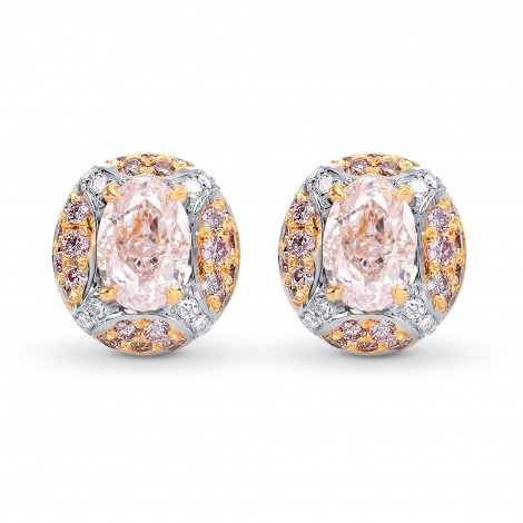 Pink and White Diamond Halo Earrings., SKU 178227 (1.41Ct TW)