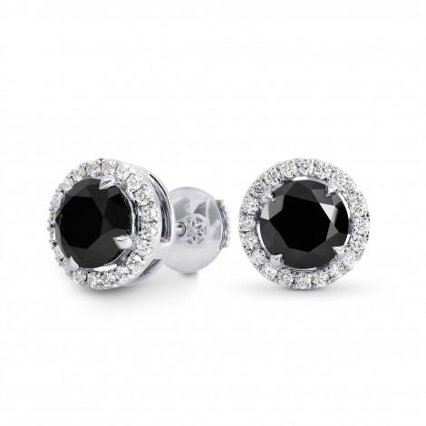 Fancy Black Diamond Halo Earrings, SKU 191865 (3.86Ct TW)