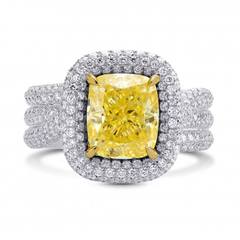 Extraordinary Halo and Multiple Band Fancy Intense Yellow Ring (5.80Ct TW)