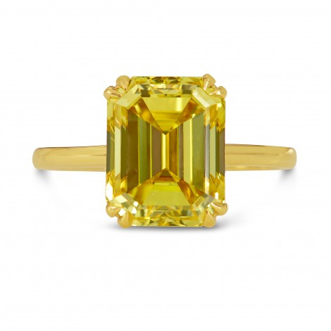 5 Carat Fancy Vivid Yellow Emerald-cut Diamond Ring, SKU 192150 (5.01Ct TW)