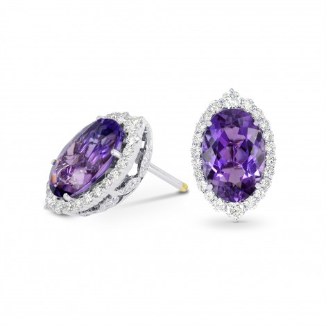 Regal Oval Amethyst & Diamond Halo Earrings, SKU 192299 (7.92Ct TW)