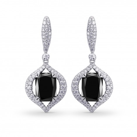 Fancy Black Radiant Diamond Drop Earrings, SKU 195120 (7.50Ct TW)