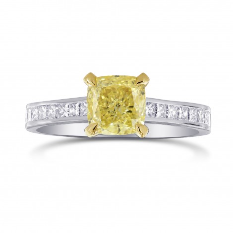 Fancy Yellow Cushion & Princess Side Stone Diamond Ring, SKU 195458 (1.66Ct TW)