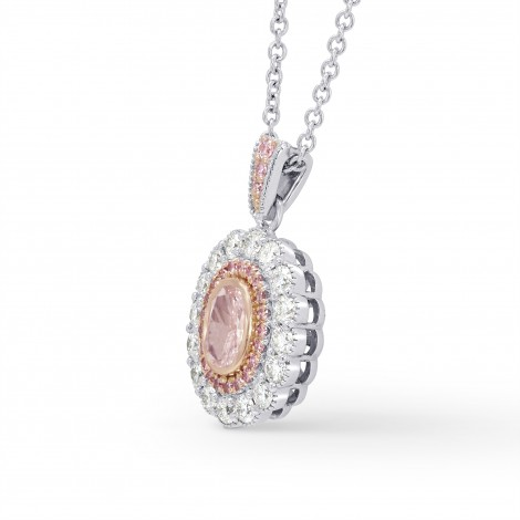 Light Pink Oval Diamond Halo Pendant, SKU 196044 (0.91Ct TW)
