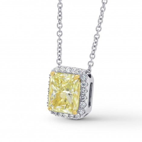 Fancy Light Yellow Internally Flawless Radiant Diamond Halo Pendant, SKU 196569 (2.4Ct TW)