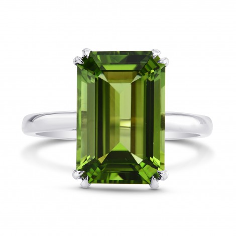5.67cts Green Tourmaline Emerald shape Solitaire Ring, SKU 196641 (5.67Ct TW)