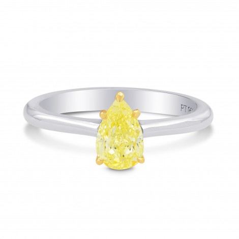 Fancy Light Yellow Pear Diamond Solitaire Ring, SKU 197369 (0.74Ct TW)