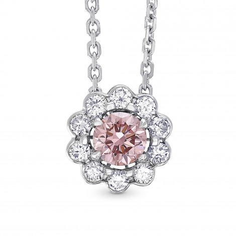 Fancy Brownish Orangy Pink Argyle Diamond Floral Halo Pendant, SKU 197881 (0.45Ct TW)