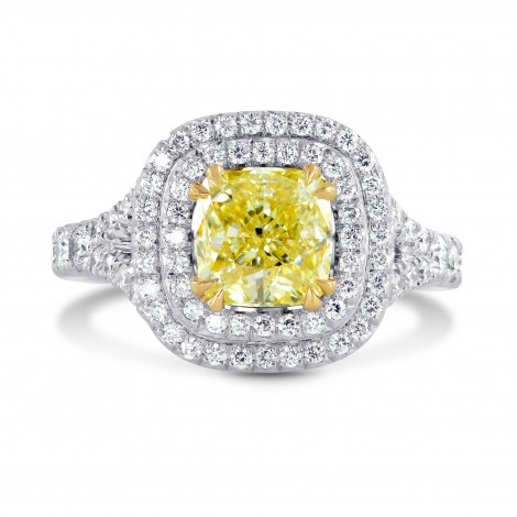 Fancy Yellow Cushion Diamond Halo Ring, SKU 199382 (2.38Ct TW)