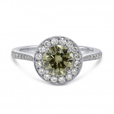 Fancy Grayish Greenish Yellow Chameleon Round Brilliant Halo Ring, ARTIKELNUMMER 20098 (1,55 Karat TW)