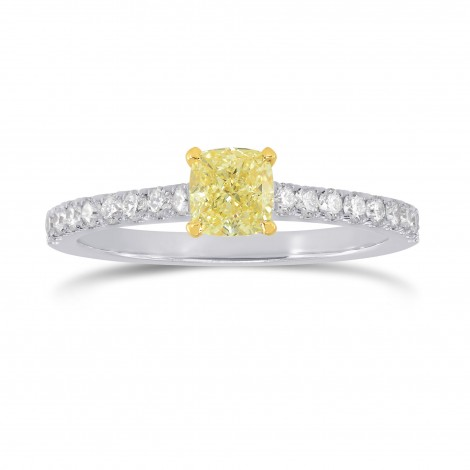 Fancy Yellow Cushion & Pave Diamond Ring, SKU 207608 (0.98Ct TW)