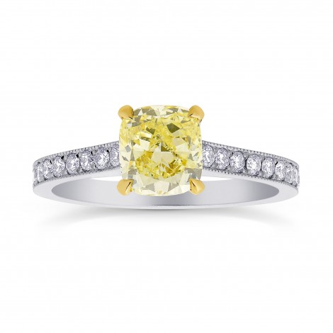 V-prong Solitaire and Mill-grain Pave Side-stone Ring Setting, SKU 2142S