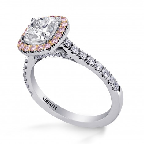 Colorless Cushion and Fancy Intense Pink Diamond Halo Ring, SKU 215441 (2.05Ct TW)