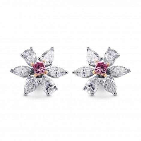 Fancy Intense Purplish Pink Princess & Fancy Colorless Diamond Earrings, SKU 217989 (2.37Ct TW)