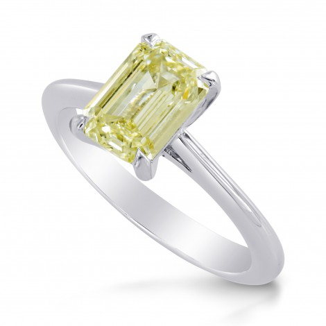 Light Greenish Yellow Emerald Diamond Solitaire Ring, SKU 218783 (1.51Ct TW)