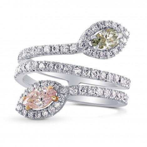 Pink & Chameleon Marquise Diamond Halo Ring, SKU 219093 (1.28Ct TW)