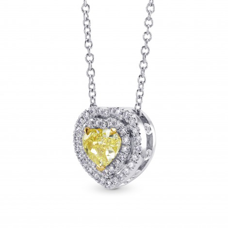 Fancy Intense Yellow Heart Diamond Double Halo Pendant, SKU 219096 (0.62Ct TW)