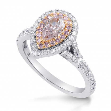 Very Light Pink Pear Diamond Double Halo Ring, SKU 220028 (1.04Ct TW)