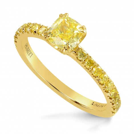 Fancy Intense Yellow Cushion Diamond Ring, SKU 220790 (1.01Ct TW)