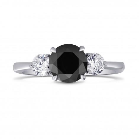 Black & White Diamond Round Brillant 3 Stones Ring, SKU 220901 (1.79Ct TW)