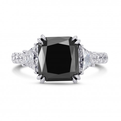 Natural unheated Fancy Black Diamond Engagement Ring (6.34Ct TW)