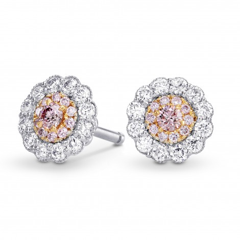 Fancy Pink Round Brillant Diamond Halo Earrings, SKU 222535 (0.54Ct TW)