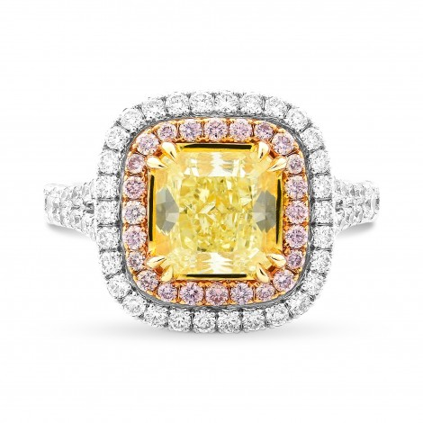Fancy Yellow Radiant Double Halo Ring, SKU 223005 (3.10Ct TW)