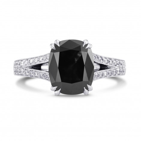 Natural Radiant unheated Fancy Black Diamond Engagement Ring with Pave