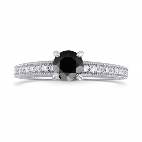Black Diamond Solitaire Milgrain Side Stone Ring, ARTIKELNUMMER 223586 (0,86 Karat TW)