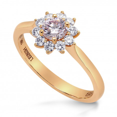 Fancy Light Purplish Pink Round Brillant Floral Halo Ring, SKU 223924 (0.58Ct TW)