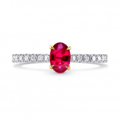 Oval Red Ruby & Diamond Side stone Ring, SKU 225507 (0.78Ct TW)