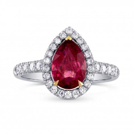 Pear Ruby and Diamond Halo Ring