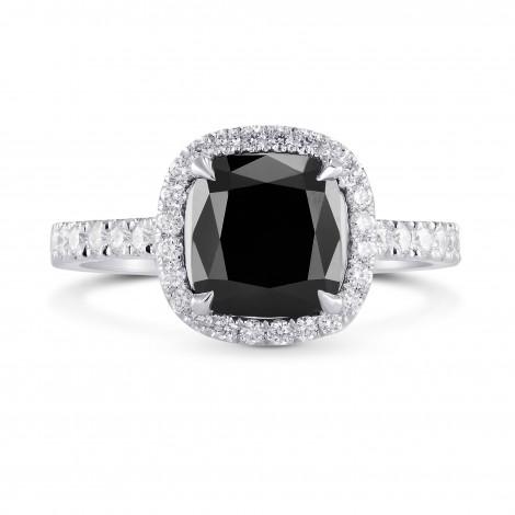 Fancy Black Cushion Diamond Halo Ring, SKU 228930 (2.87Ct TW)
