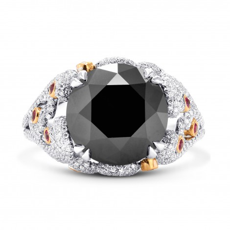 Extraordinary Fancy Black Round Diamond Designer Ring (8.05Ct TW)