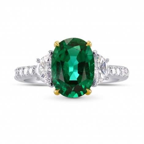 Oval Emerald & Half-moon Diamond Ring, SKU 229140 (2.82Ct TW)