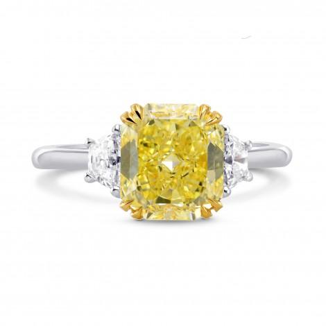 Fancy Yellow Radiant Diamond 3 Stone Ring, SKU 229280 (2.43Ct TW)