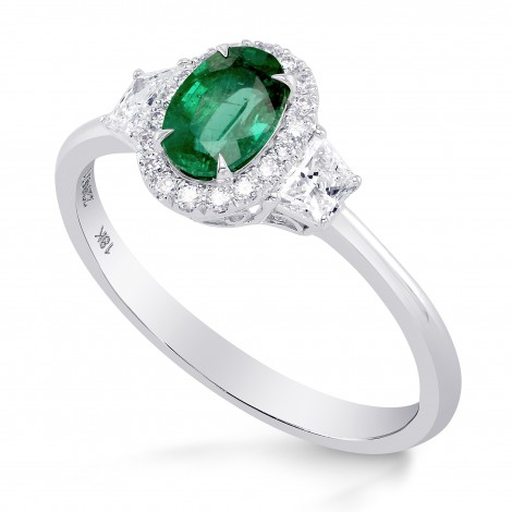 Oval Green Emerald & Trapezoid Diamond Halo Ring, SKU 229471 (1.13Ct TW)