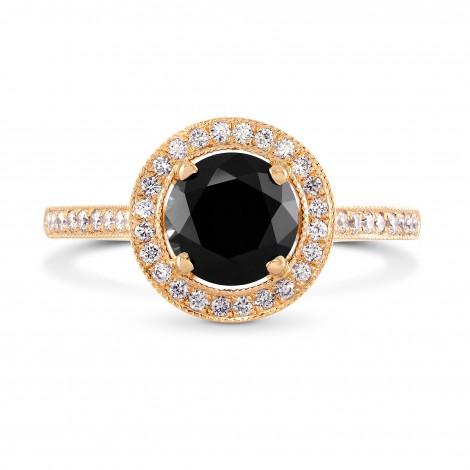Rose Gold Natural Black Diamond Engagement Ring, SKU 229736 (1.79Ct TW)