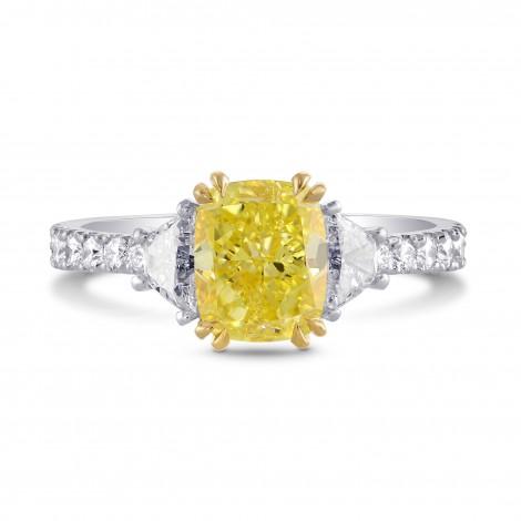 Fancy Intense Yellow Cushion & Trapezoid Diamond Ring, SKU 229788 (2.21Ct TW)