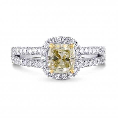 Fancy Light Grayish Greenish Yellow Cushion Diamond Halo Ring, SKU 229820 (1.45Ct TW)