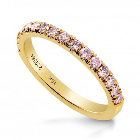 18K Yellow Gold Fancy Pink Diamond Band Ring, SKU 229864 (0.39Ct TW)